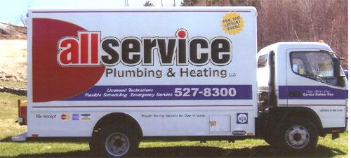 All Service box truck lettering and graphics.