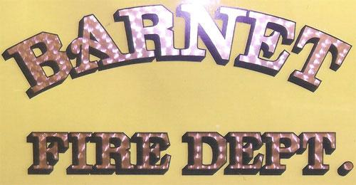 Barnet Fire Department, lettering on emergency vehicles.
