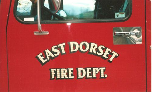 East Dorset Fire Department, lettering on emergency vehicles.