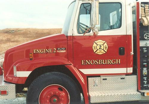 Enosburg Fire Department, lettering on emergency vehicles.