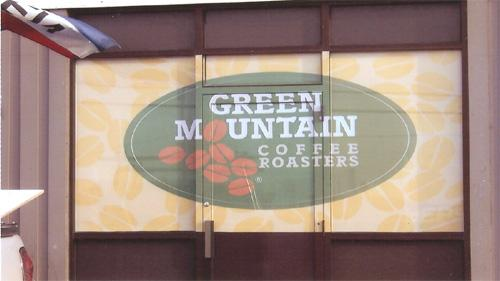 Green Mountain Coffee window lettering.