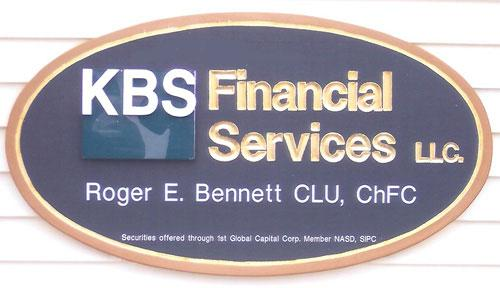 KBS Financial Services office building carved sign.