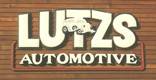 Lutz Automotive dimensional sign.