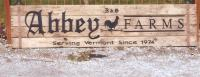 Abbey Farms wood sign.