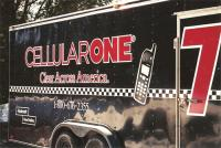 Cell One racing trailer graphics.