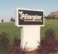Energizer sign mounted on granite base