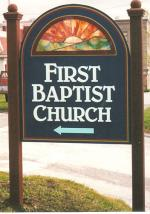 First Baptist Church dimensional sign.