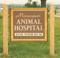 Mississippi Animal Hospital carved sign.